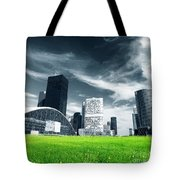 Big City And Green Fresh Meadow Tote Bag
