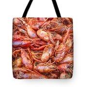 Big Prawns In Market Tote Bag