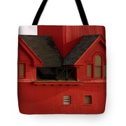 Big Red Holland Harbor Light Michigan Tote Bag by Michelle Calkins