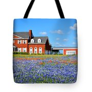 Big Red House On Bluebonnet Hill Tote Bag