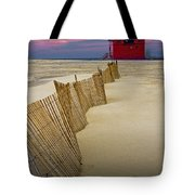 Big Red Lighthouse With Sand Fence At Ottawa Beach Tote Bag