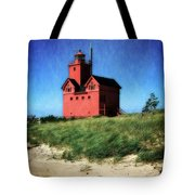 Big Red With Flag Tote Bag by Michelle Calkins