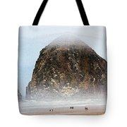 Big Rock On The Oregon Coast With Fog Tote Bag