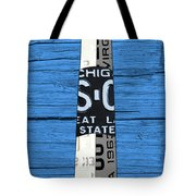 Big Sable Point Lighthouse Michigan Great Lakes License Plate Art Tote Bag