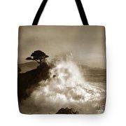 Big Wave Hitting The Lone Cypress Tree Pebble Beach California 1916 Tote Bag