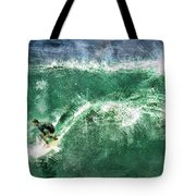 Big Wave Surfing Tote Bag by Elaine Plesser
