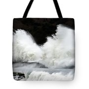 Big Waves Breaking On Breakwater Tote Bag