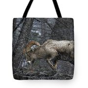 Bighorn Caught In A Blizzard Tote Bag