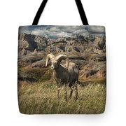 Bighorn Ram In The Badlands Tote Bag