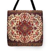Bijar Red And Khaki Silk Carpet Persian Art Tote Bag