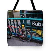 Bike At Subway Entrance Tote Bag