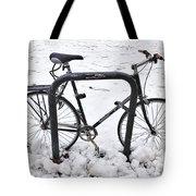 Bike In The Snow Tote Bag