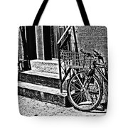 Bike In The Sun Black And White Tote Bag