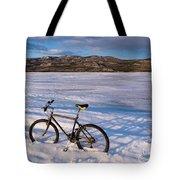 Bike On Frozen Lake Laberge Yukon Canada Tote Bag