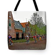 Bike Race On Orange Day In Enkhuizen-netherlands Tote Bag