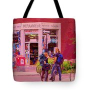 Bikes Backpacks And Cold Beer At The Local Corner Depanneur Montreal Summer City Scene  Tote Bag