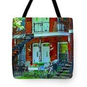 Bikes Balconies Brick Houses Flower Boxes Verdun Duplex Stairs Summer Scenes Carole Spandau Tote Bag