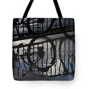 Bikes In The Rain Tote Bag
