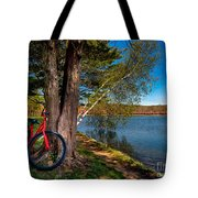 Biking To Horseshoe Lake Tote Bag