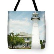 Biloxi Lighthouse Sketch Photo Tote Bag