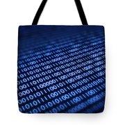 Binary Code On Pixellated Screen Tote Bag