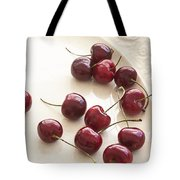 Bing Cherries And White Plate Tote Bag
