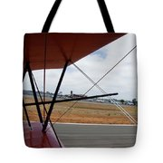 Biplane Taxying Back To Tie Down Tote Bag