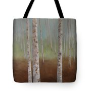 Birch In The Mist Tote Bag