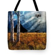 Birch Trees And Biplanes  Tote Bag