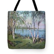 Birch Trees By The River Tote Bag