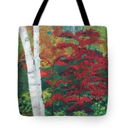 Birch Trees In Red Tote Bag