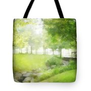 Birches And Stream Tote Bag