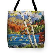 Birches By The Lake Tote Bag