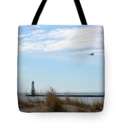 Bird And Lighthouse Tote Bag