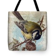 Bird And Pine Branch Tote Bag