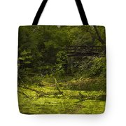 Bird By Bridge In Forest Merged Image Tote Bag