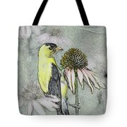Bird Eating Seeds For One Digital Art Tote Bag