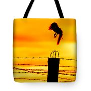 Bird Flying Off From Prison Fence Tote Bag