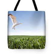 Bird Flying Over Green Grass Tote Bag