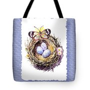 Bird Nest With Daisies Eggs And Butterfly Tote Bag