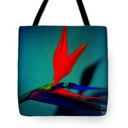 Bird Of Paradise With Blue Background Tote Bag