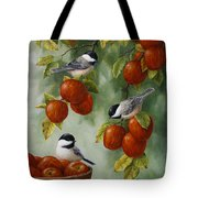 Bird Painting - Apple Harvest Chickadees Tote Bag