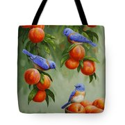 Bird Painting - Bluebirds And Peaches Tote Bag