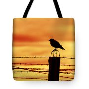 Bird Sitting On Prison Fence Tote Bag