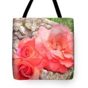 Birdbath Roses Tote Bag