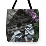 Birdhouse With Frogs Tote Bag
