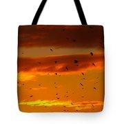 Birds Against Sunset Sky Tote Bag