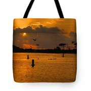 Birds And Bouys Sunrise Tote Bag