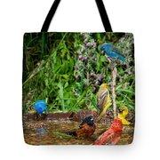 Birds Bathing Tote Bag