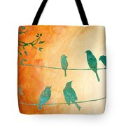 Birds Gathered On Wires-5 Tote Bag